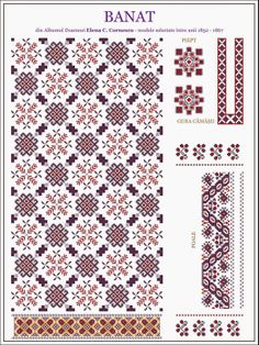 Beading _ Pattern - Motif / Earrings / Band ___ Square Sttich or Bead Loomwork ___ model de iie din BANAT Folk Embroidery, Cross Stitch Embroidery, Embroidery Patterns, Knitting Patterns, Cross Stitch Borders, Cross Stitching, Cross Stitch Patterns, Bordado Popular, Traditional Design