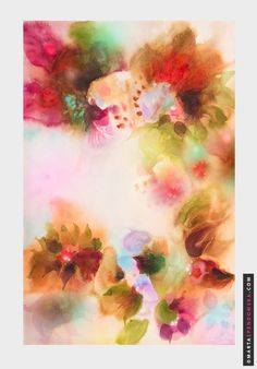 Flower Abstract Painting Art Watercolor by martaspendows : Blossomed