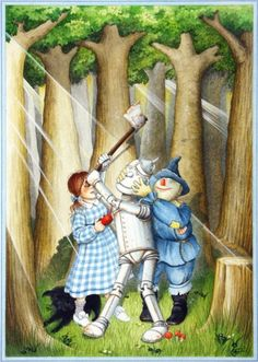 Tin Man, Scarecrow, and Dorothy - Wizard of Oz, illustration by Jonathan Langley
