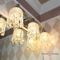 DIY crystal lamp shades for vanity fixture