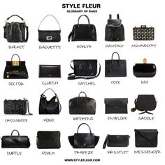 A visual guide to bag shapes and styles! Fashion Terminology, Fashion Terms, Fashion Bags, Fashion Beauty, Types Of Handbags, Bob Styles, Make It Simple, Women Accessories, Purses