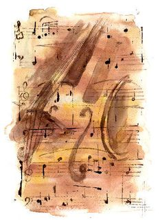 Watercolour Close-up of Cello