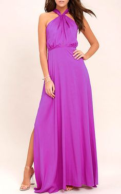 Be the foremost authority in comfy fashion with the Essence of Style Berry Pink Maxi Dress! A tying apron neckline with a flowy maxi skirt. Purple Maxi, Green Maxi, Magenta, Best Maxi Dresses, Prom Dresses, Bridesmaid Dresses, Pretty Dresses, Fashion Outfits, Dress Fashion