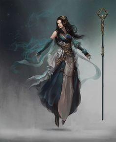 levitating female sorcerer using elemental magic and an awesome staff RPG character / NPC inspiration Fantasy Girl, High Fantasy, Fantasy Warrior, Fantasy Women, Fantasy Rpg, Medieval Fantasy, Fantasy Character Design, Character Creation, Character Concept