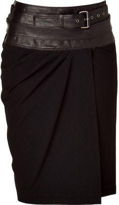 Donna Karan Black Wrap Skirt with Leather Yoke at ShopStyle