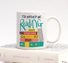 i'd rather be reading mug Book Nerd, Book Club Books, Good Books, Book Clubs, Gifts For Bookworms, White Coffee Mugs, Christmas Delivery, Book Lovers Gifts, Napkins Set