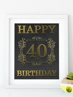 Items similar to Happy Birthday 55 Gold birthday sign birthday party Printable Gold party decor print birthday decoration on Etsy Happy 55th Birthday, 70th Birthday Parties, Gold Birthday, 50th Birthday Decorations, Gold Party Decorations, Sign, Printable, 30th, Golden Birthday