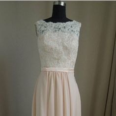 Long lace Champagne Bridesmaid Dress  Long Prom by DressTrend, $199.99