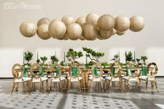 A Lunar New year wedding inspiration shoot with Chinese wedding details and a unique green and gold Asian wedding color palette. Paper Lantern Centerpieces, Floating Paper Lanterns, Chinese Paper Lanterns, Centerpiece Ideas, Asian Inspired Wedding, Tulip Wedding, Gold Wedding, Wedding Table, Wedding Lanterns