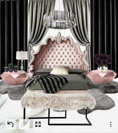Creating this room was so much fun!! Another client satisfied :) _Luxury at it's finest _Ready for my next client #mywork #work #interiordesigner #design #art #fashion #decor #bedroom #stylist #glam #glamour #shine #diamond #crystal #modern #rose #gold #white #black #gray #purple #violet #velet #silver #chandelier #home #green #plush #sheepskin #fur #luxury #plants #flowers #roses #bench #handmade #royal #marble #beautiful #custom #curtains #love #passion #unique #women #rooms...