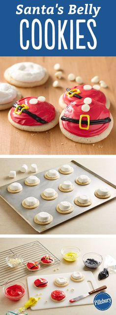 Is there anything cuter than these Santa Belly Cookies? Learn how to make these fun Christmas cookies. They are great to leave out for Santa and your kids to add a little bit of jolly to the holidays! Also, this recipe is perfect for if you are hosting a Best Christmas Cookies, Christmas Snacks, Christmas Cooking, Christmas Goodies, Holiday Cookies, Holiday Desserts, Holiday Baking, Holiday Treats, Holiday Recipes