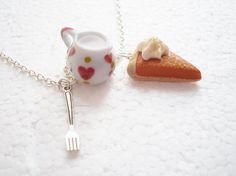 Pumpkin Pie And Cream Pendant. Polymer Clay. by GiraffesKiss