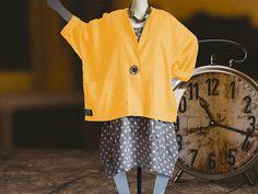 Leinen gelb Traumhafte Lagenlook Jacke Grössen von 48-64