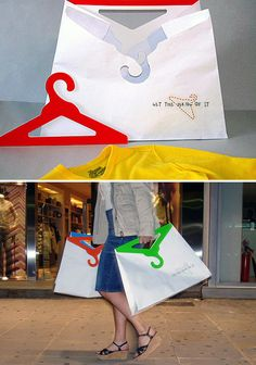 No ordinary handles on these bags – they are actually two detachable cardboard hangers. Design by Aliki Rovithi. Shirt Packaging, Clothing Packaging, Paper Bag Design, Cardboard Design, Retail Store Design, Cardboard Packaging, Design Research, Clever Design, Packaging Design Inspiration