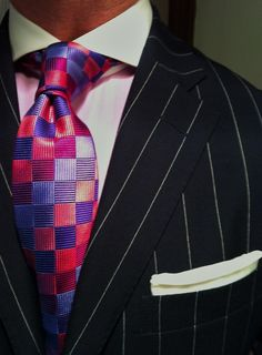 WIWT Blue Pinstriped Ralph Lauren Suit, MTM Emanuel Berg shirt fitted by Lowet Tailors and Turnbull & Asser tie