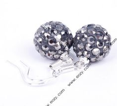 Deep Gray 925 Sterling Silver Crystal Disco Ball Jewelry Earring Eardrop