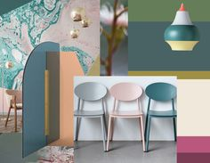 Vela paravant by Arflex via Architonic - Cirque lamp Louis Poulsen - chairs via Spruce and Furn Mood Boards, Interior Styling, Palette, Chairs, Interiors, Spring, Creative, Inspiration, Interior Decorating