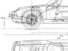 Porsche 914 Art Automotive Art Porsche 914 Blueprint