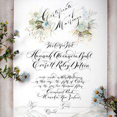 Marriage Certificate Wedding Certificate Custom por eDanae en Etsy                                                                                                                                                                                 More