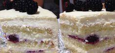 Bolo de amora, creme de baunilha e chantilly - Goiabada de Marmelo Mini Cheesecake, Vanilla Cake, Desserts, Food, Blackberry Cake, Serving Dishes, Cake Batter, Guava Paste, Powdered Sugar