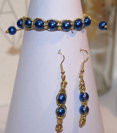 Conjunto hilo dorado y perla azul