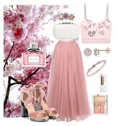 """""""Cherry Blossoms"""" by samssr ❤ liked on Polyvore featuring Little Mistress, STELLA McCARTNEY, Valentino, Givenchy, Allurez, Alexander McQueen, Christian Dior, Hourglass Cosmetics and Guerlain"""