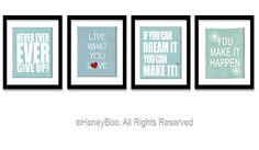 Motivation estampes, inspirant l'art pariétal, encourageant les mots Tenture murale, bleu turquoise blanc chambre décor sur Etsy, 31,46€