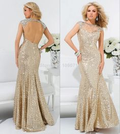 Flowy Long Strapless Beaded Chiffon Ivory Gold Prom Dress | Prom ...
