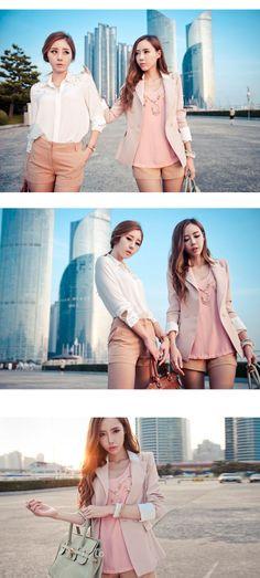 Pretty Korean Style Slim Large Size Long Blazer : dressyours.com
