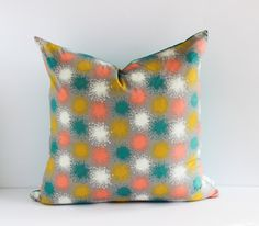 Reversible Pillow Cover  August Dandelion Print by ShannonFraserDesigns Etsy handmade home décor sfDesigns Turquoise linen Throw pillow