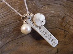 Latitude and Longitude necklace -- I get sooooo many compliments and questions on this -- unique -- use a birthplace, wedding location, etc.