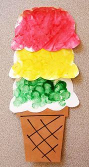Pre-K Summer Arts Crafts: Dotted Ice Cream! #preschool #kidscrafts (repinned by Super Simple Songs)