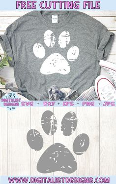 Free Grunge Pawprint SVG - Cricut T Shirts - Ideas of Cricut T Shirts - Free Grunge Pawprint SVG cut file! This would be amazing for a variety of DIY Animal craft projects such as: HTV T-shirts mugs home decor scrapbooking stickers Plotter Silhouette Cameo, Silhouette Cameo Projects, Silhouette Studio, Dog Silhouette, Silhouette Machine, Silhouette Cameo Shirt, Silhouette Cameo Freebies, Silhouette America, Silhouette Files