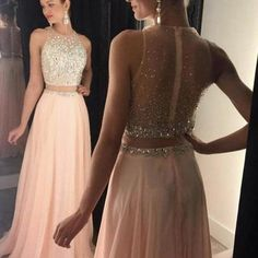 Sexy Prom Dress,a-line Round Neck Pink Prom Dress,long Prom Dress,chiffon Sequin Long Prom Pieces Evening Dress Prom Dresses Two Piece, Unique Prom Dresses, A Line Prom Dresses, Sexy Dresses, Prom Gowns, Evening Dresses, Chiffon Dresses, Long Dresses, Prom Dresses Light Pink