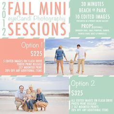 FALL MINI SESSIONS ON 30A!!!   Book NOW!
