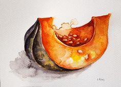 Original Watercolor Art Pumpkin Slice Painting Vegetable
