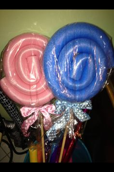 Lollipops out of pool noodles!