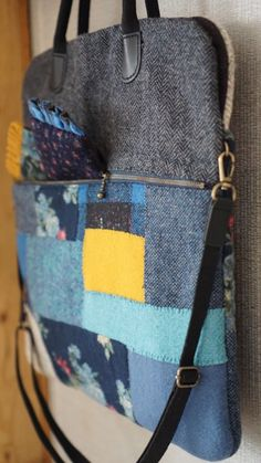 Wool Felt, Felted Wool, Japanese Bag, Fabric Bags, Quilted Bag, Handmade Bags, Tote Handbags, Messenger Bag, Satchel