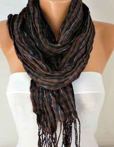 Brown Black & Silver Plaid Scarf Fringe Scarf Winter by anils