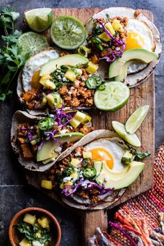 Breakfast Tacos - These tacos are packed with the sweet-and-spicy flavors of classic al pastor style tacos, but yet so simple and quick. - Breakfast Tacos Al Pastor via Half Baked Harvest