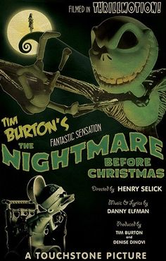 BROTHERTEDD.COM - The Nightmare Before Christmas Retro Movie Poster... Halloween Movies, Disney Halloween, Halloween Town, Halloween Prop, Green Movie, Room Posters, Movie Posters, Touchstone Pictures, Top Rated Movies