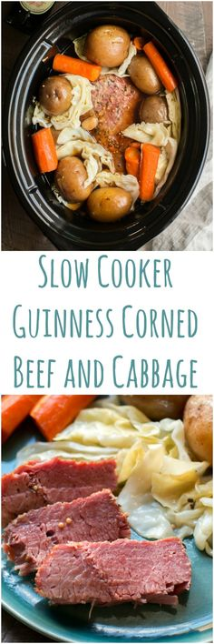 Slow Cooker Guinness Corned Beef and Cabbage #slowcooker #cornedbeef #guinness