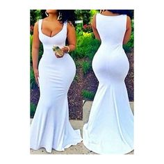 Sleeveless V Neck White Maxi Mermaid Dress ($23) ❤ liked on Polyvore featuring dresses, white, white day dress, white mermaid gown, v neck dress, print dress and mermaid gown