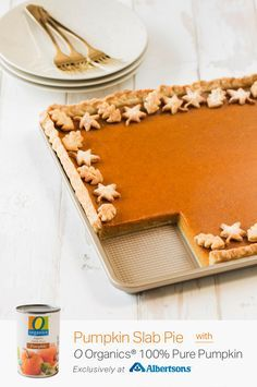 Spread even more holiday cheer with this Pumpkin Slab Pie recipe, made in just a matter of minutes. Get O Organics® 100% Pure Pumpkin exclusively at Albertsons and craft this delicious baked dessert completely from scratch. The flakey and flavorful crust only calls for four ingredients—unsalted butter, cream cheese, flour and salt, making it as easy to make as it is to enjoy!