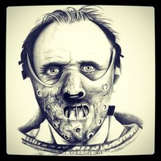 Hannibal Lecter, Horror Show, Horror Art, Hannibal Tattoo, Chucky Tattoo, Horror Crafts, Horror Movie Tattoos, Optical Illusion Tattoo, Scary Drawings