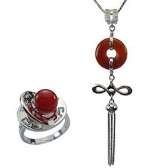 Good Luck Red Agate Silver Pendant Necklace & Fortune, Luck, Health and Longevity Chinese Symbol Ring Set 16""