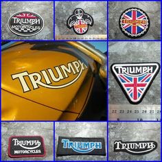 EMBROIDERED IRON ON PATCH MOTORCYCLES BIKER CAFE TRIUMPH UNION FLAG ARM PATCHES #Unbranded