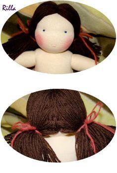 Rilla waldorf babái és textiljátékai: Hogyan készül waldorf babáim dús haja
