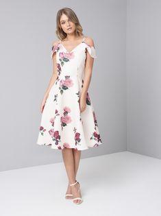 a9ebdc245b9 Cream Cold Shoulder Floral Print Midi Dress – The Chi Chi Mariana