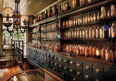 Antique perfume wall | Inspiration-Mood-Dream board for the planning of The Mini Museum & Miniature Perfume Shoppe Gallery